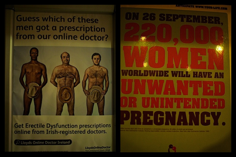 Signs on men's room wall at O'Connell's Pub in Dublin Ireland