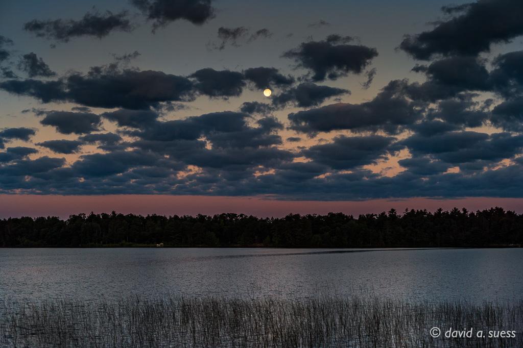 Moon Setting Over North Sand Lake at Dawn